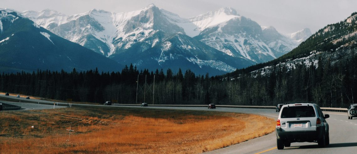 Highway from Calgary to Banff / Canmore