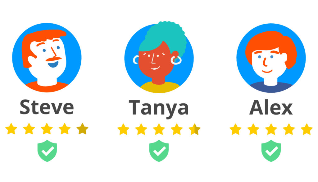 Poparide profiles with star rating and verified badges