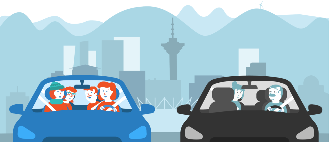 Poparide vs Uber / Lyft illustration in Vancouver