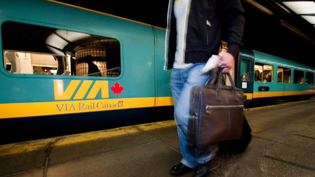 Via Rail Canada with a passenger walking