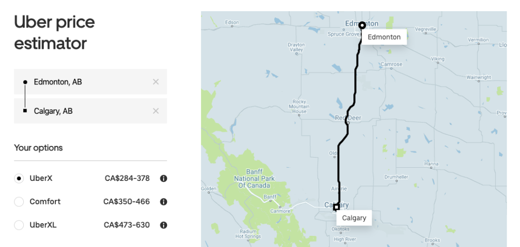 Uber price estimator showing prices from Edmonton to Calgary with UberX, UberXL, etc.
